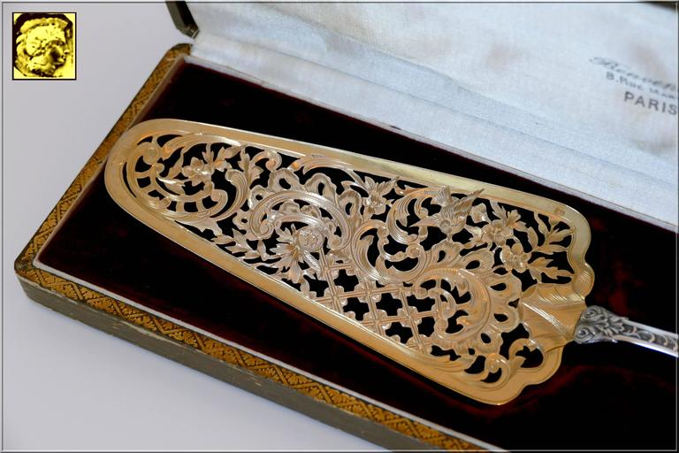 Rare French All Sterling Silver 18K Gold Pie, Pastry, Fish Server, Box, Rococo 10