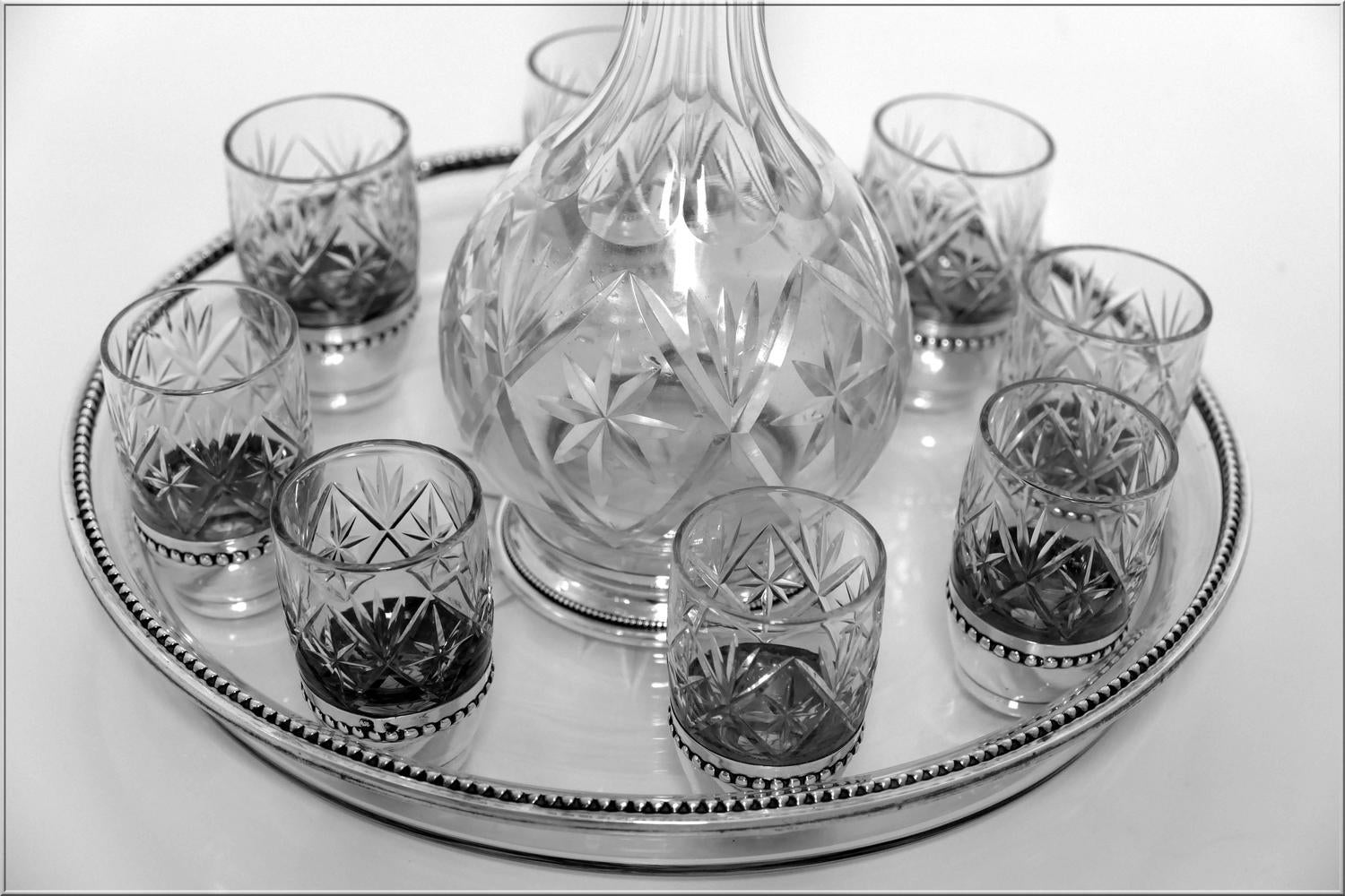 rare french sterling silver saint louis cut crystal liquor service at 1stdibs. Black Bedroom Furniture Sets. Home Design Ideas