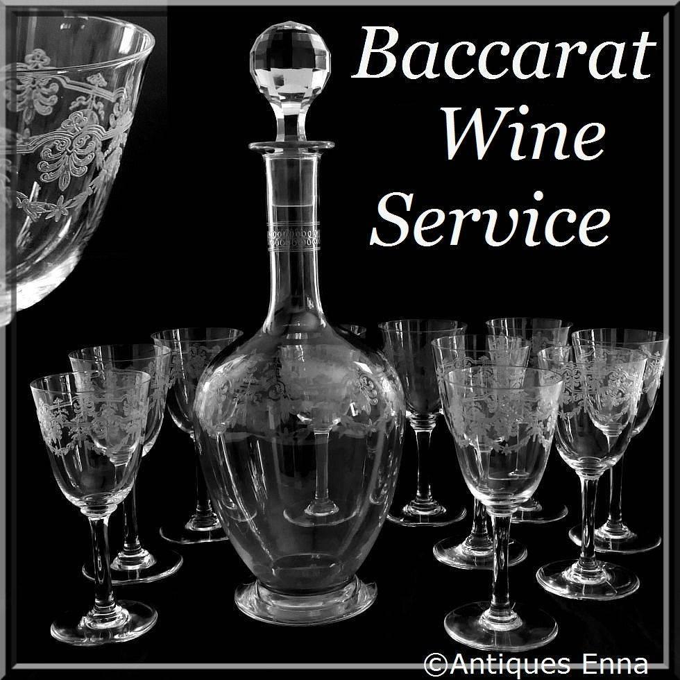 1910s baccarat beauharnais engraved crystal wine decanter and glasses set at 1stdibs - Baccarat stemware ...