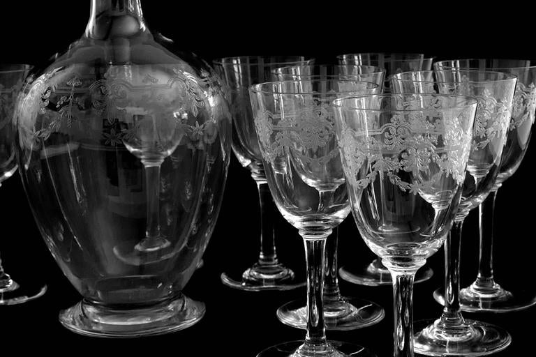 1910s Baccarat Quot Beauharnais Quot Engraved Crystal Wine