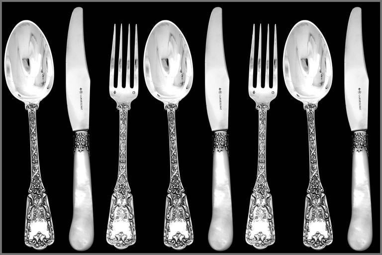 Cardeilhac French Sterling Silver Dinner Flatware Set 18 Pieces Neoclassical In Good Condition For Sale In TRIAIZE, PAYS DE LOIRE