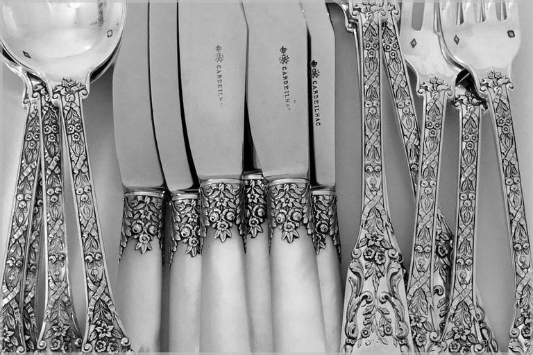 Cardeilhac French Sterling Silver Dinner Flatware Set 18 Pieces Neoclassical For Sale 4