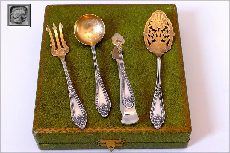 Frenais Rare French All Sterling Silver 18K Gold Dessert Set, Box, Lion's head For Sale 4