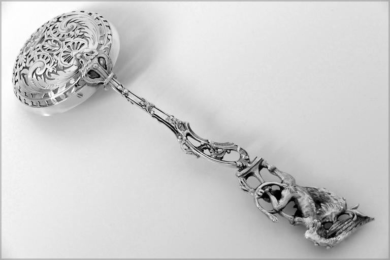 Ernie Masterpiece French Sterling Silver 18-karat Gold Sugar Sifter Spoon Dragon 7