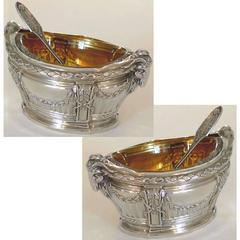 Puiforcat Masterpiece French sterling silver Gold salt cellars pair, Ram's Head
