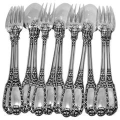 Soufflot Gorgeous French Sterling Silver Dinner Flatware Set 12 Pieces Mascarons