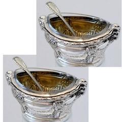 Puiforcat Masterpiece French sterling silver salt Cellars Pair spoons Ram's Head