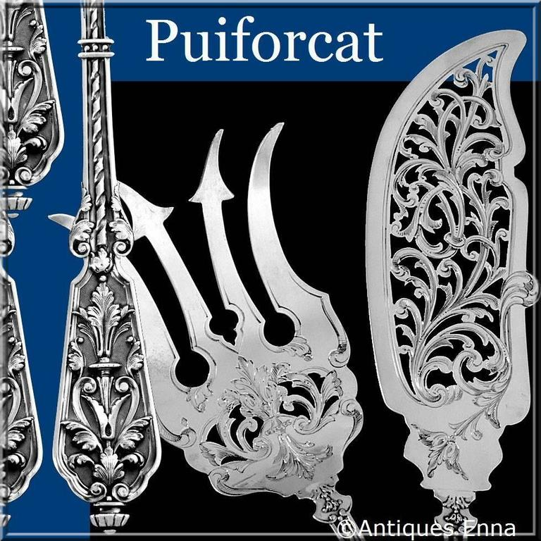 Boar's head for 800/1000 French sterling silver guarantee.   Extremely rare model by Puiforcat. The stems and handles have foliage decoration in the Renaissance style on stippled background. This model is called
