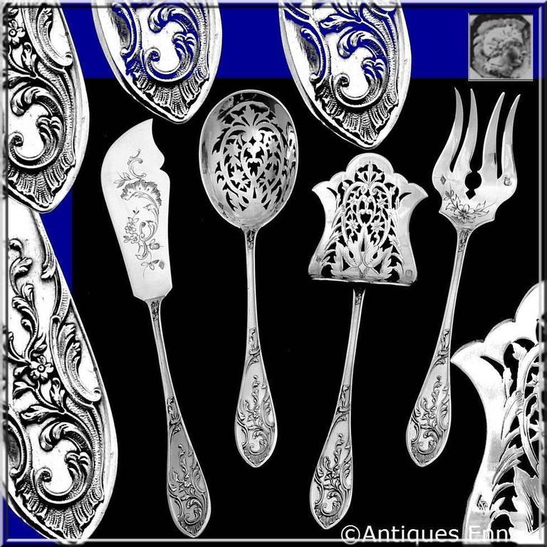 coignet french all sterling silver dessert hors d 39 oeuvre set art nouveau for sale at 1stdibs. Black Bedroom Furniture Sets. Home Design Ideas