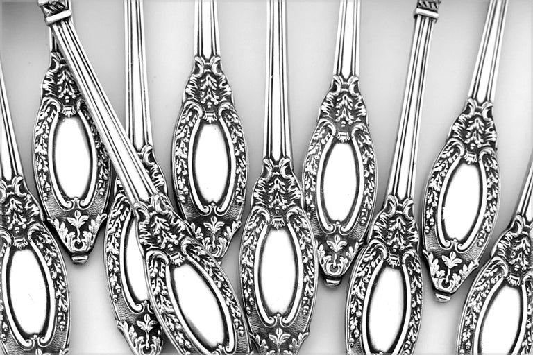 French Sterling Silver 18-Karat Gold Tea Service Tea Spoons Strainer Sugar Tong For Sale 4