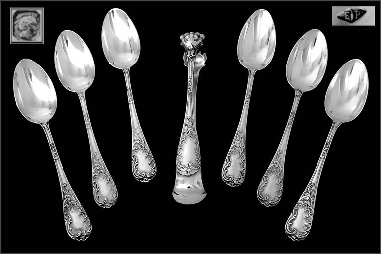 Rococo Puiforcat French Sterling Silver Tea Coffee Dessert Spoons Set, Sugar Tongs, Box For Sale