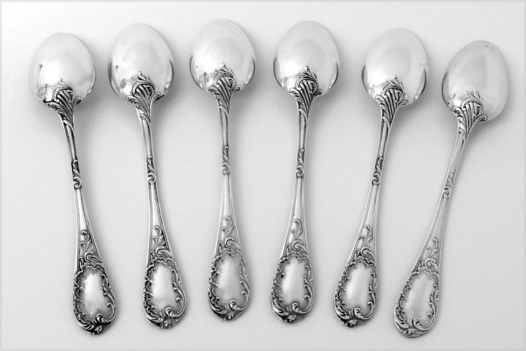 Puiforcat French Sterling Silver Tea Coffee Dessert Spoons Set, Sugar Tongs, Box For Sale 2