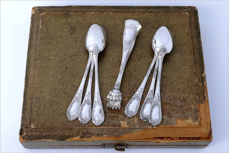 Puiforcat French Sterling Silver Tea Coffee Dessert Spoons Set, Sugar Tongs, Box For Sale 4