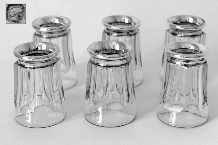 Antique French Sterling Silver Baccarat Cut Crystal Aperitif or Whiskey Service For Sale 1