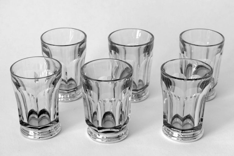 Art Deco Antique French Sterling Silver Baccarat Cut Crystal Aperitif or Whiskey Service For Sale