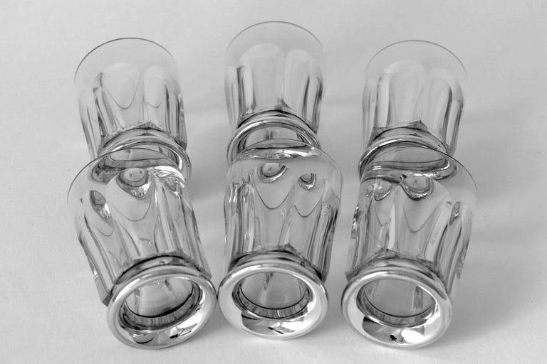 Antique French Sterling Silver Baccarat Cut Crystal Aperitif or Whiskey Service For Sale 3