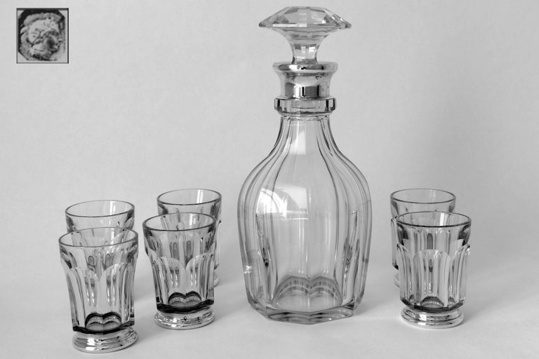 Antique French Sterling Silver Baccarat Cut Crystal Aperitif or Whiskey Service For Sale 5