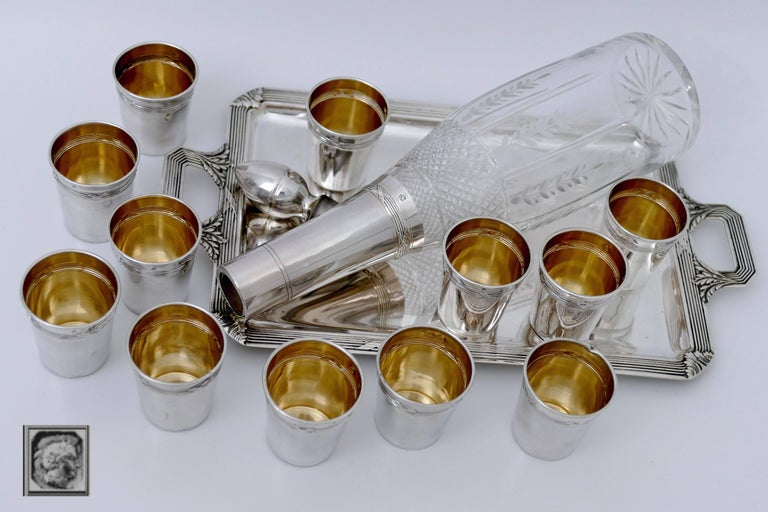 Engraved Debain French Sterling Silver Liquor Cups, Tray and Crystal Decanter, Ribbons For Sale