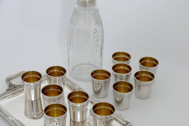 Late 19th Century Debain French Sterling Silver Liquor Cups, Tray and Crystal Decanter, Ribbons For Sale