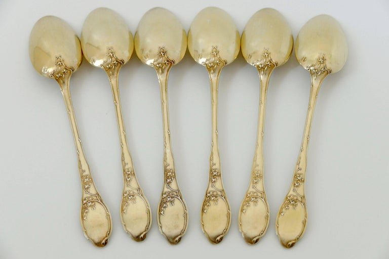 Art Nouveau Soufflot French Sterling Silver 18k Gold Tea Coffee Spoons Set 6 Pc, Thrush, Box For Sale