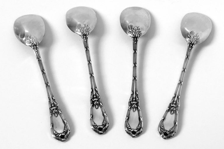 Coignet French Sterling Silver 18-Karat Gold Four Salt Cellars, Spoons and Box For Sale 1