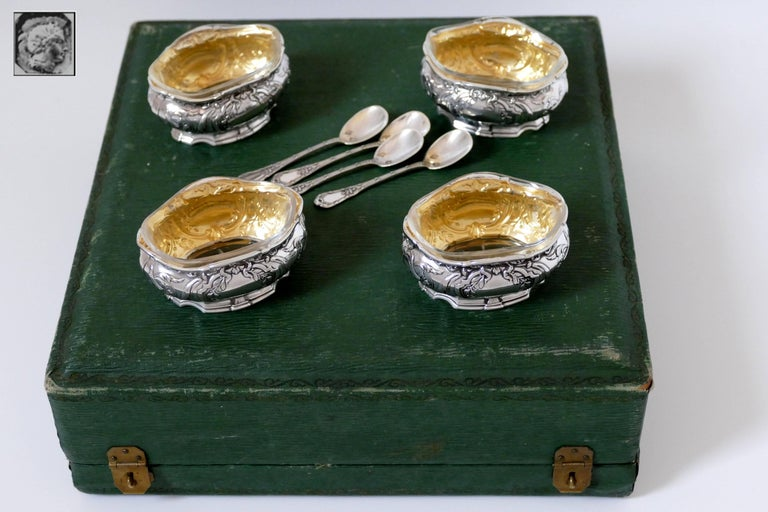 Coignet French Sterling Silver 18-Karat Gold Four Salt Cellars, Spoons and Box For Sale 4