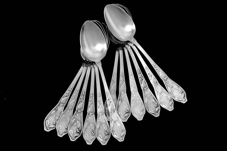 Boulenger Masterpiece French Silver Tea Coffee Spoons Set, Cocoa Bean, Box In Excellent Condition For Sale In TRIAIZE, PAYS DE LOIRE