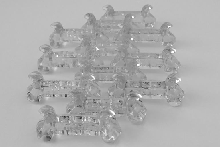 1900s Antique Baccarat French Crystal Knife Rests Set of 12 Pieces In Good Condition For Sale In TRIAIZE, PAYS DE LOIRE