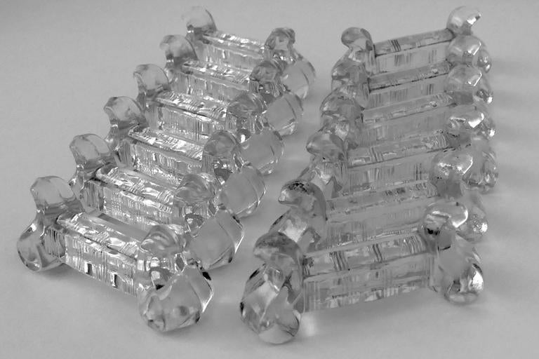 1900s Antique Baccarat French Crystal Knife Rests Set of 12 Pieces For Sale 1