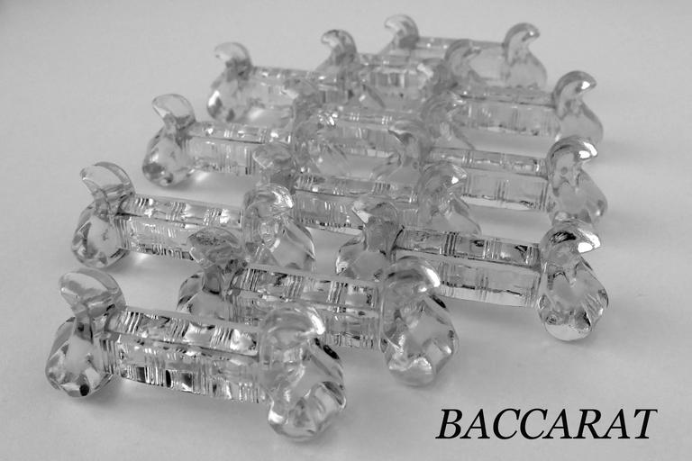 Art Deco 1900s Antique Baccarat French Crystal Knife Rests Set of 12 Pieces For Sale