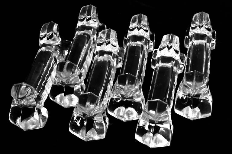 1900s Baccarat French Crystal Knife Rests Set of Six Pieces For Sale 3
