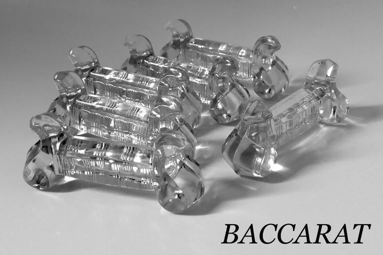 1900s Baccarat French Crystal Knife Rests Set of Six Pieces In Good Condition For Sale In TRIAIZE, PAYS DE LOIRE