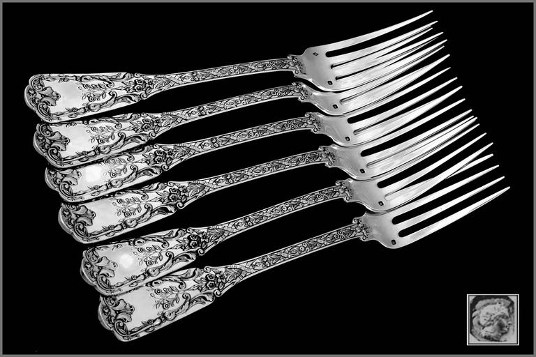 Cardeilhac French Sterling Silver Dinner Forks Set of Six Pieces, Neoclassical For Sale 1