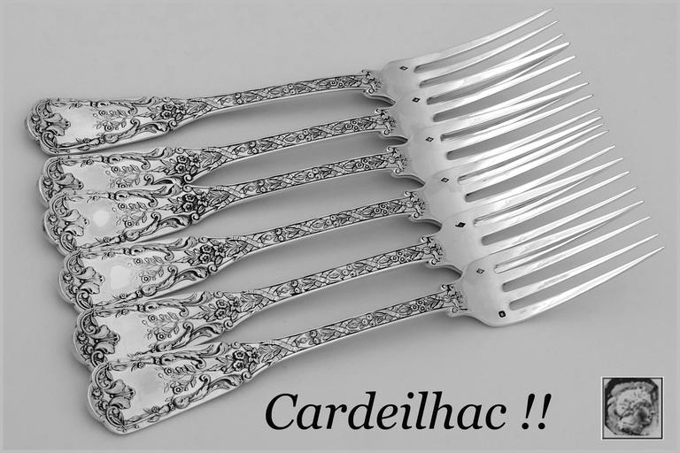 Fabulous French sterling silver dinner forks set six pieces. In the neoclassical pattern, with sumptuous decoration: Ribbons, garlands of flowers and foliage.   Four sets available.  Of special note is the weight and heft of these pieces.   To