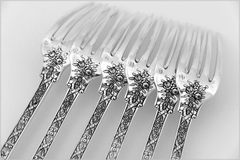 Cardeilhac French Sterling Silver Dinner Forks Set of Six Pieces, Neoclassical For Sale 2