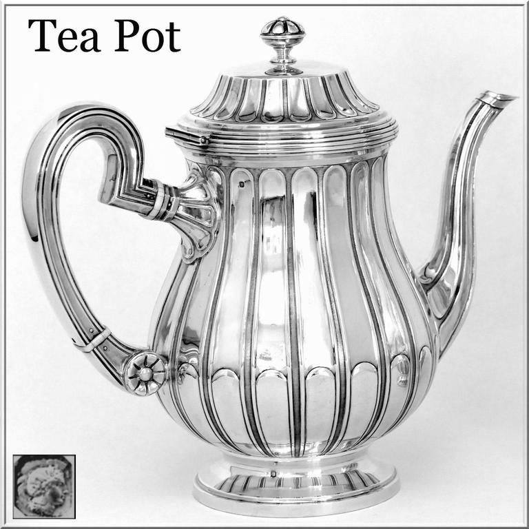Tetard French Sterling Silver Samovar, Chocolate Pot, Teapot,Coffee & Sugar  Pot For Sale 1