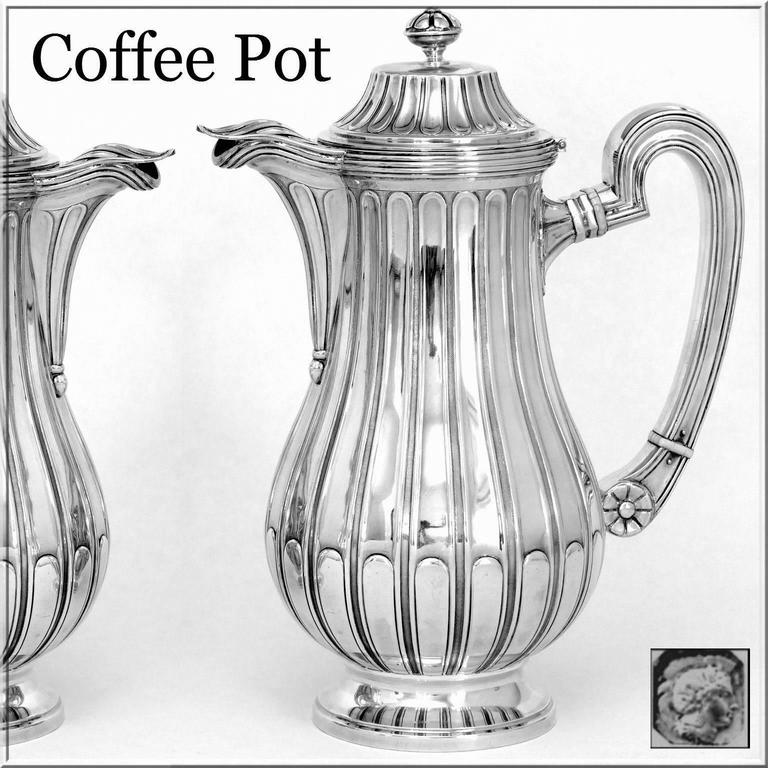 Tetard French Sterling Silver Samovar, Chocolate Pot, Teapot,Coffee & Sugar  Pot For Sale 2