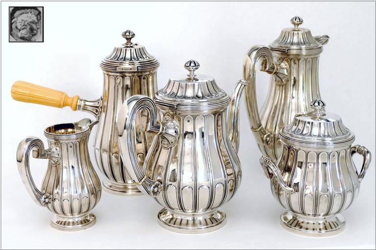 Tetard French Sterling Silver Samovar, Chocolate Pot, Teapot,Coffee & Sugar  Pot For Sale 5