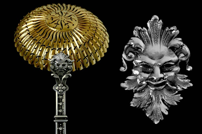 Late 19th Century Puiforcat Masterpiece French Sterling Silver Gold Sugar Sifter Spoon, Mascaron For Sale