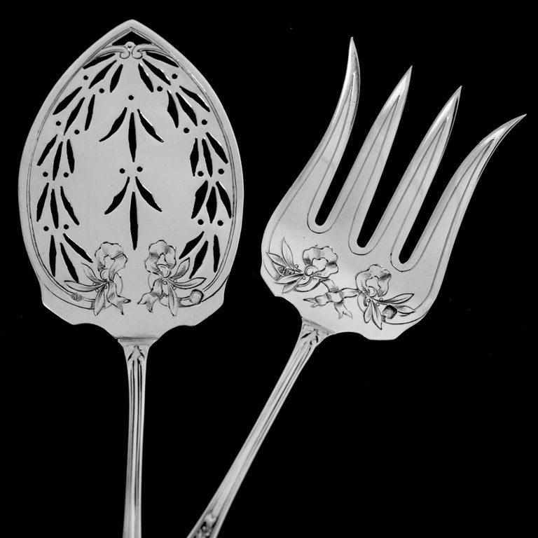 Puiforcat French Sterling Silver Dessert Hors D'oeuvre Set, Box, Neoclassical For Sale 1