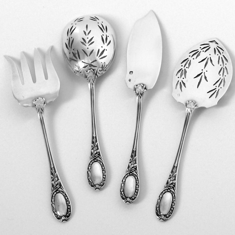 Puiforcat French Sterling Silver Dessert Hors D'oeuvre Set, Box, Neoclassical For Sale 2
