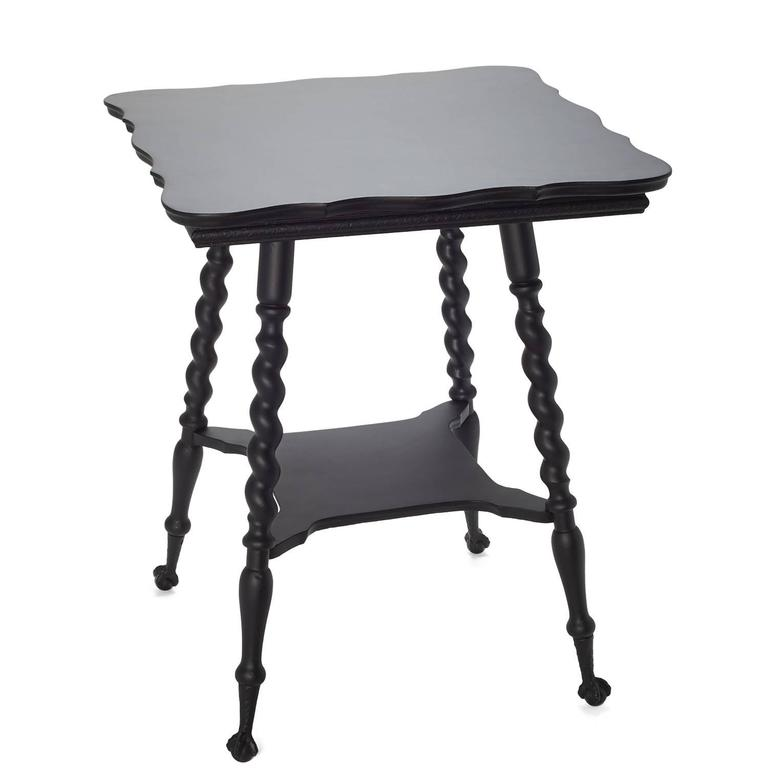 19th Century Victorian Black Claw Foot Side Table For Sale