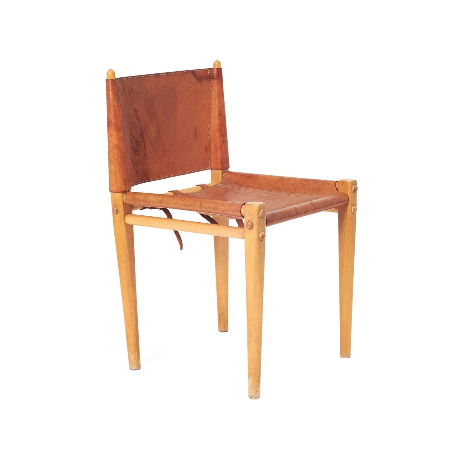 Mid century italian leather and wood dining chairs by for Wood and leather dining chair