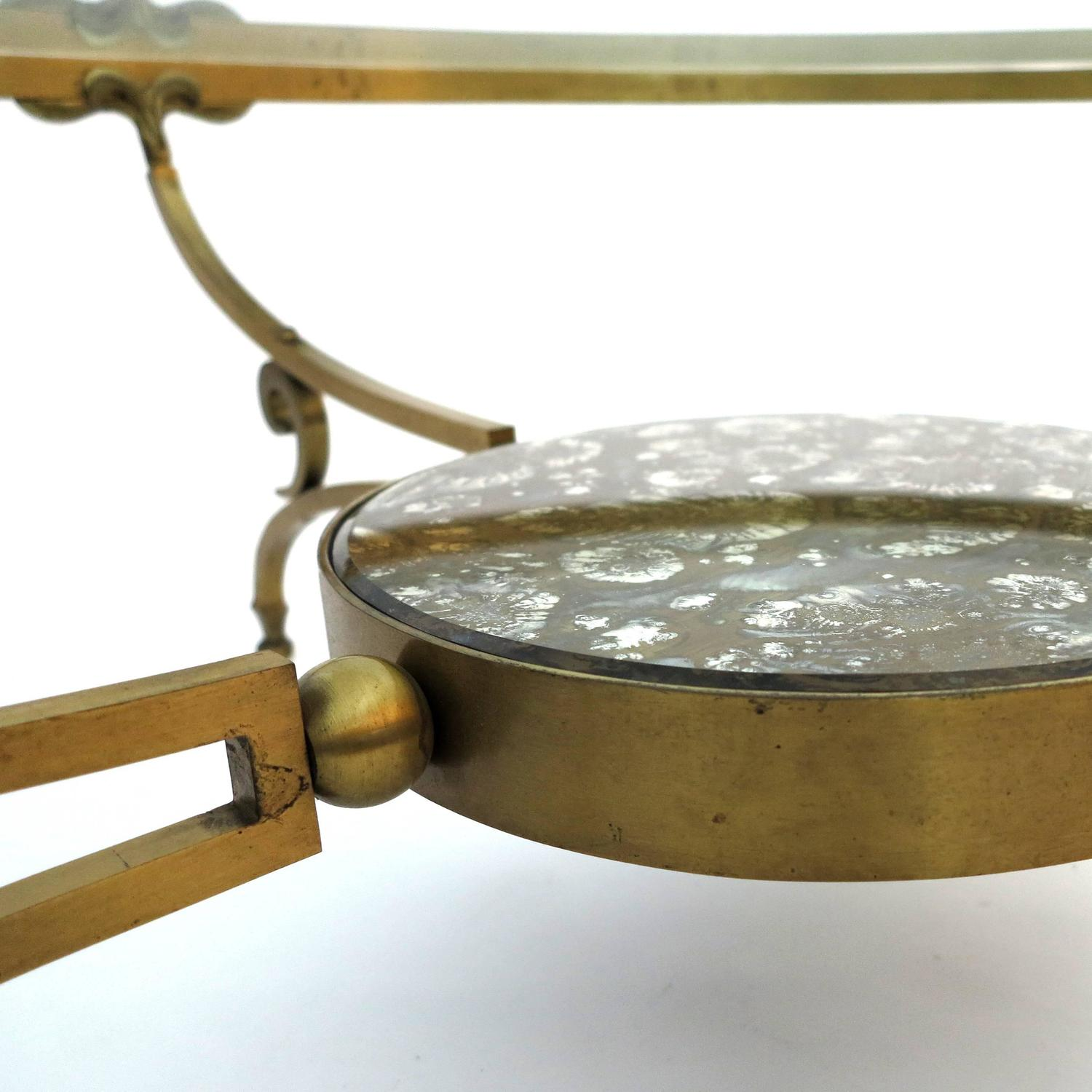 Bronze And Glass Coffee Table: Round Bronze And Glass Coffee Table By Arturo Pani For