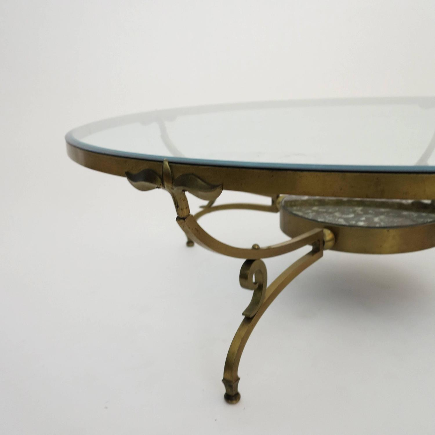 Round 3 Round Coffee Table Made Of Metal Cm ø80x23h: Round Bronze And Glass Coffee Table By Arturo Pani For