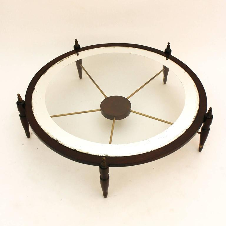 Gorgeous Coffee Table With Glass Top Framed In Mirror Circa 1950s For Sale At 1stdibs