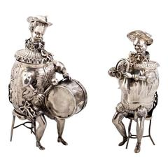 Rare and Unusual Antique Silver Musical Figures