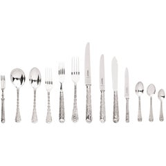 Elizabethan Pattern Sterling Silver Flatware Set by Garrards the Crown Jewelers