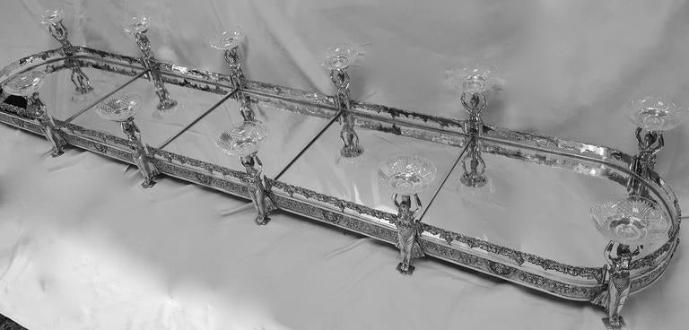 Five Section Mirrored Top Silver Plated Table Plateau At