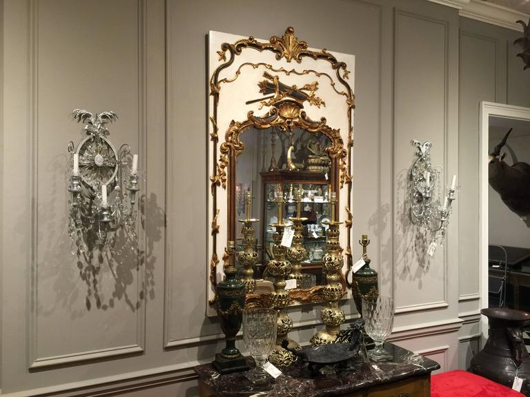 Metal Gorgeous Pair of Neoclassical Crystal Wall Sconces For Sale